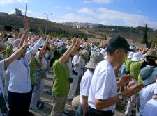 La Iglesia Coreana orando por Israel y Palestina (Marcha por la Paz 2005)