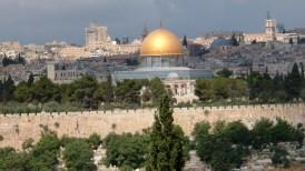 Vista de la ciudad antigua de Jerusalén y el Domo de la Roca